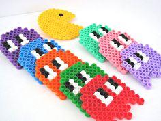 Pacman ghost hama beads brooch