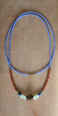 Single strand beaded boho necklace long tribal by copperandbeige
