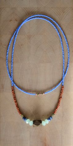 Single strand beaded boho necklace long tribal by copperandbeige