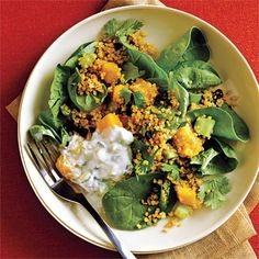 Curried Quinoa Salad with Cucumber-Mint Raita Recipe < Cooking with Quinoa: 15 Recipes - Cooking Light