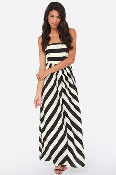 Dreamboat Come True Ivory and Black Striped Maxi Dress