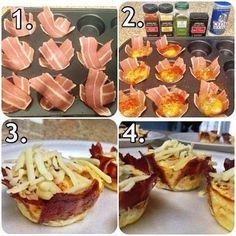 Oeuf Bacon dans des moules