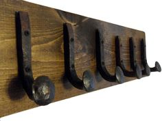 "Amazon.com: Heavy Duty Coat Hat Robe Tool Towel Hook Rail Rack Wall Mount Storage Display Rustic Holder Architectural Reclaimed Organizer Kitchen Bathroom Foyer Bedroom Closet Garden Garage Accessory Wooden Antique Vintage Metal (Dark Walnut and Antique Iron, 24"" Rack Rail with 6 Railroad Spike Hooks): Home & Kitchen"