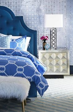 How to bring modern American glamour into every room of your home: While it's a place of rest and relaxation your bedroom can still have a sense of allurement. Create this by combining a mix of interesting prints and textures. Jonathan Adler Mongolian Lamb Bench – Large, RRP $3,295