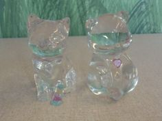 Lead Crystal Figurine Lot Bear With Heart Fenton Cat Princess House Kitten  #Fenton