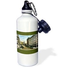 3dRose Mesa Avenue, the Heart of El Paso, Texas With Antique Cars, Sports Water Bottle, 21oz, White