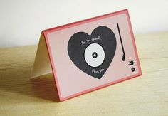 """""""For the record. I love you"""" free printable Valentine's card.  Perfect for the music lover in your life."""