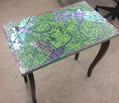 Dragonfly mosaic table finally completed