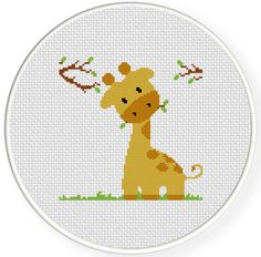 INSTANT DOWNLOAD Stitch Giraffe Eating PDF Cross Stitch Pattern Needlecraft    -----------------------------------------------------    Pattern: