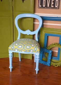 Antique Balloon Back Accent Chair in Aqua and by parsonsparlor on Etsy www.parsonsparlor.com