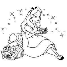 alice drinking tea with cat in wonderland coloring pages - Alice In Wonderland Coloring Pages