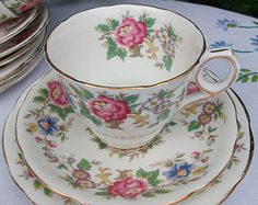 Pretty English Royal Stafford Tea Cup Saucer & Plate Trio - Fine Bone China Vintage Tea Set - Rochester Floral Pattern Gold Detailing 1950s