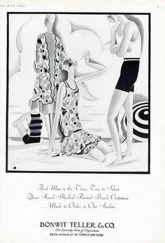 BATHING SUITS Fashion Ad - 1927 - Art Deco Ladies at the Beach BONWIT TELLER #BonwitTeller