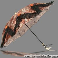 Il Marchesato Italian Luxury Cheetah Black Lace & Roses Lady Umbrella