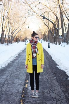 sunglasses: Warby Parker coat: Sheinside scarf: H&M shirt: Loft jeans: Urban Outfitters sneakers: Converse Yellow Coat, Yellow Cardigan, Warby Parker, Snow Outfit, My Outfit, Spring Fashion, Autumn Fashion, Urban Outfitters Jeans, Boho Baby