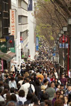 Omotosando street crowded with shoppers on Sunday, Harajuku.