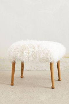 Luxe Fur Stool - anthropologie.com