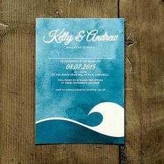 ocean wave wedding invitation stationery by feel good invites | notonthehighstreet.com