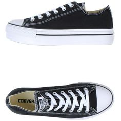 Converse All Star Low-tops & Trainers ($110) ❤ liked on Polyvore featuring shoes, sneakers, black, converse sneakers, converse trainers, black wedge sneakers, wedge sneakers and wedge shoes