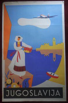 1952 Large Original Poster Yugoslavia Jugoslavija Adriatic Travel Tourism Plane | eBay