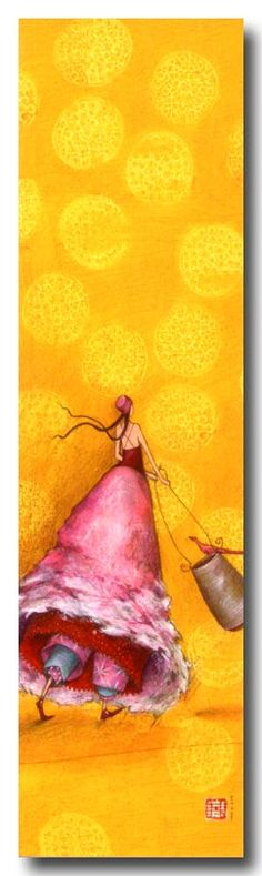 Pink with Yellow ✿ڿڰۣ Art Fantaisiste, Art Et Illustration, Human Art, Art Moderne, Whimsical Art, Pictures To Draw, Watercolor Print, Beautiful Paintings, Female Art