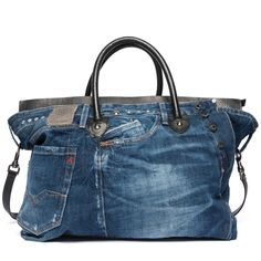 Borsa in pelle e recycle denim - Replay FW3530_000_A0181F_486_1