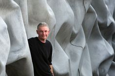 """"""" 'crushed wall' is the latest architectural installation by british artist walter jack. the expansive long, high wall utilizes concrete in such a way that it appears as soft and malleable, partially wrapping around the perimeter of a building Precast Concrete Panels, Concrete Cement, Long Walls, High Walls, Dragon Pattern, Backdrop Decorations, Modern House Design, Textured Walls, Installation Art"""