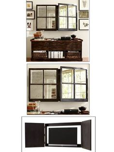 Brilliant idea from pottery barn - hide the TV behind a 'mirror window'
