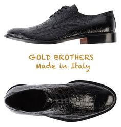 NEW $425 GOLD BROTHERS CROC EMBOSSED BLACK SHOES. HANDMADE IN ITALY. SZ 43/10M #GoldBrothers #Oxfords