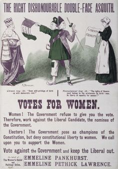 """size: Giclee Print: Women's Suffrage Poster """"The Right Dishonourable Double-Face Asquith"""", by English School : Canvas Art, Canvas Prints, Art Prints, Emmeline Pankhurst, London Museums, Thing 1, Women In History, Poster Size Prints, Online Printing"""