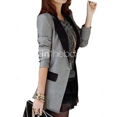 Women's Casual Contrast Color Shrug Long Slim Blazer,Long Sleeve - USD $16.99
