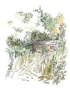 Miss Honey's Cottage from Roald Dahl's Matilda ~ By the deservedly much loved and wonderful, Quentin Blake~ Illustrators, Art Photography, Sketches, Illustration, Art Drawings, Drawings, Artist, Painting, Book Art