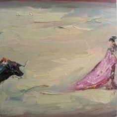 Llevando al toro a una mano, 2011 óleo sobre tela 40 x 40 cm.