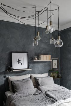 Do You Like An Ideas For Scandinavian Bedroom In Your Home? If you want to have An Amazing Scandinavian Bedroom Design Ideas in your home. Master Bedroom Design, Home Decor Bedroom, Modern Bedroom, Bedroom Ideas, Gray Bedroom Walls, Bedroom Layouts, Bedroom Designs, Dark Cozy Bedroom, Calming Bedroom Colors