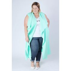 Chicest Of Them All Vest in Mint (Sizes 14 to 32) ($90) ❤ liked on Polyvore featuring outerwear, vests, longline vest, vest waistcoat, mint green vest and blue vest