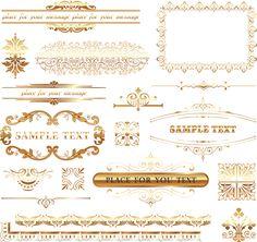 金色のヨーロッパ調飾り罫 european lace pattern vector イラスト素材