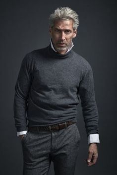 Collared button down shirt with gray turtle neck, silver fox, gray outfit