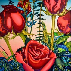 """TAF DECOR Roses Framed Painting Print Size: 19"""" H x 19"""" W"""
