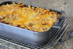 This easy casserole is a macaroni and cheese combination with ground beef, an excellent one-dish meal for a busy family.