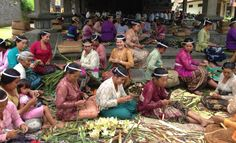 Giving Thanks ~ the Balinese way. Women making the little canang trays for their offerings. Appears to be for an odalan.