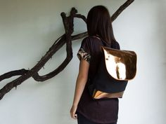 Bronze leather and black canvas urban backpacklaptop by robobambi