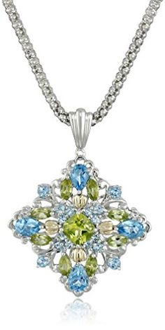 Sterling Silver and 14k Yellow Gold Blue Topaz and Peridot Pendant Necklace, 18″  http://stylexotic.com/sterling-silver-and-14k-yellow-gold-blue-topaz-and-peridot-pendant-necklace-18/