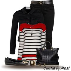 Striped Top + Denim Jacket, created by marion-fashionista-diva-miller on Polyvore
