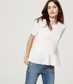 Image of Ruffle Hem Sweater color Antique White