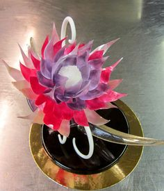 Sugar showpiece. Isomalt flower.