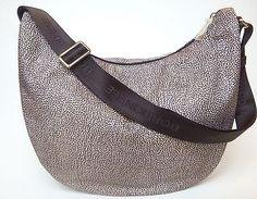 Handbag-borsa-BORBONESE-tessuto-fantasia-fango-grigio #borbonese