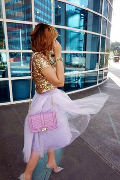 lavander tulle skirt, sequin top, rebecca minkoff love crossbody, lavener and gold, tulle and sequins, michael kors sunglasses, grey christian louboutin pigalle, sequin top and tulle skirt, midi tulle skirt, party outfit, engagement outfit