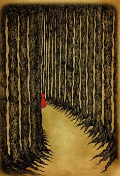 Little Red Riding Hood - Illustrations by Melissa Jayne Rathbone ~ medium: fineliner, pen, pencil, chalk & photoshop. The artist does a good job of making the woods feel ominous; Red seems very small in such a setting. Illustrators, Little Red Riding Hood, Drawings, Painting, Illustration Art, Art, Artsy, Fairy Tales, Prints