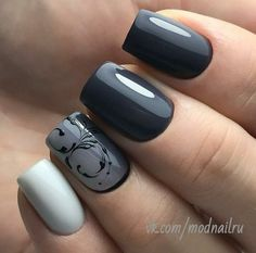 36 Outstanding Classy Nail Designs Ideas for Your Ravishing Look - Bellestilo Classy Nails, Trendy Nails, Cute Nails, Grey Nail Designs, Classy Nail Designs, Gray Nails, Black Nails, Gray Nail Art, Grey Art