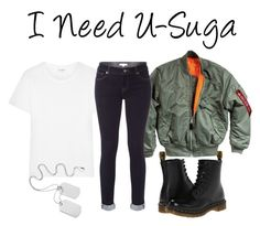 I Need U-Suga Inspired Outfit by realchattygirl on Polyvore featuring Yves Saint Laurent, White Stuff and Dr. Martens